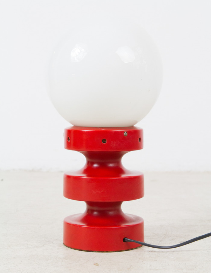 Red Table Lamp with Opaline Glass, 1960s -3