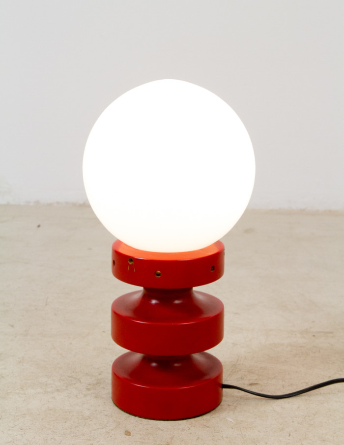 Red Table Lamp with Opaline Glass, 1960s -6