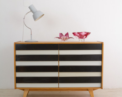 Restored Black and White Oak Cabinet by Jiri Jiroutek for Interier Praha, 1960s