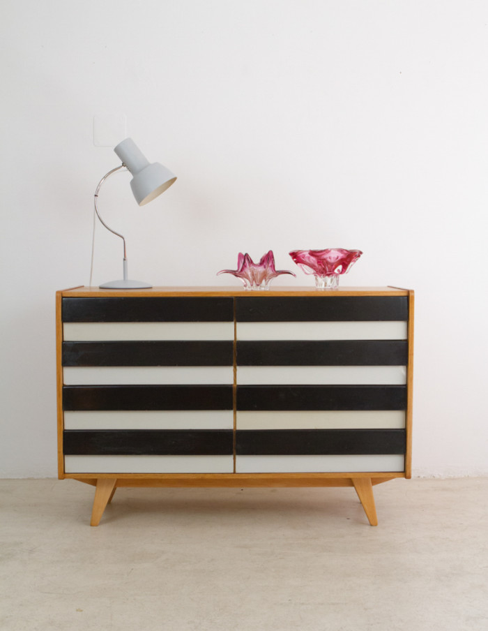 Restored Black and White Oak Cabinet by Jiri Jiroutek for Interier Praha, 1960s-6
