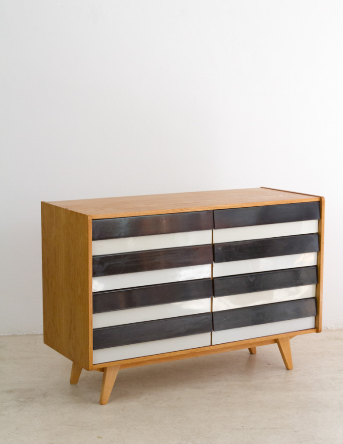 Restored Black and White Oak Cabinet by Jiri Jiroutek for Interier Praha, 1960s-8
