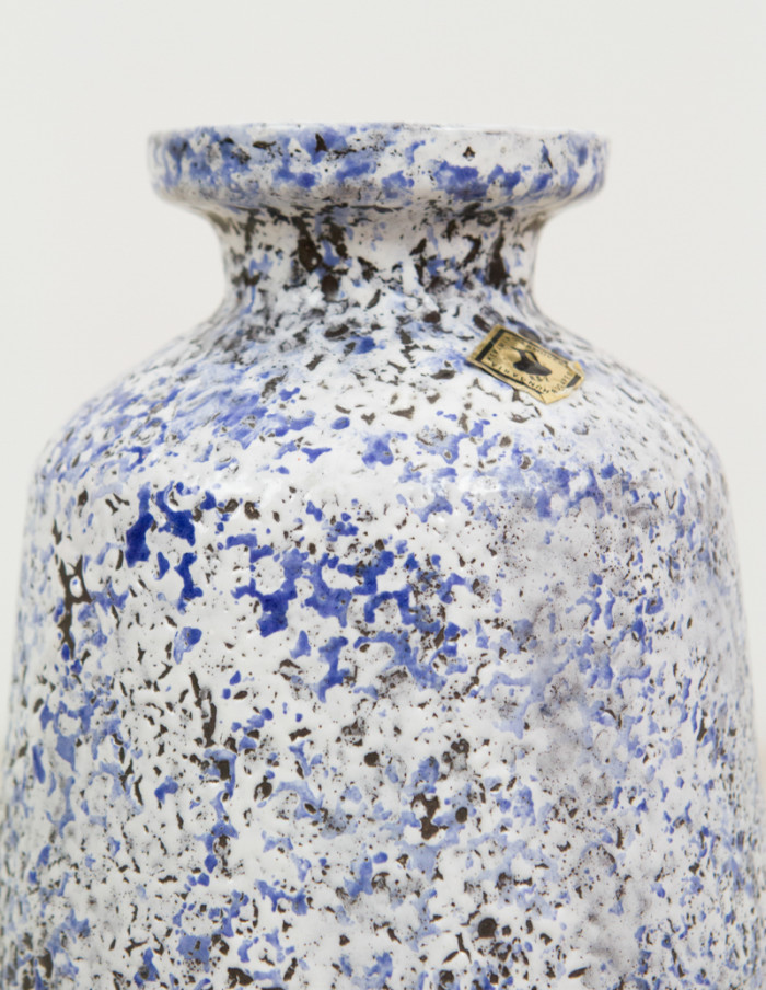 Rotund Artisan Blue Ceramic Vase -3