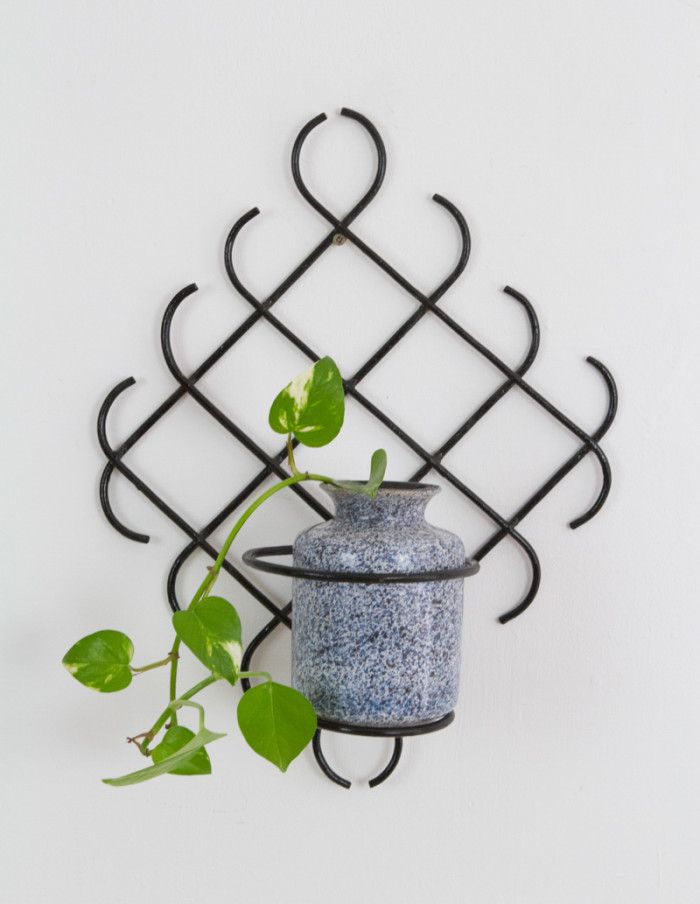 Vintage Black Plant Holder from the 1960s-4