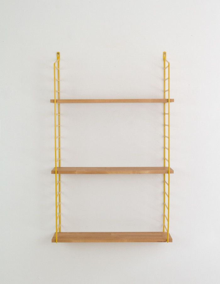 Yellow and Oak Panni Shelf Perfectly Restored (3) 1960s-2