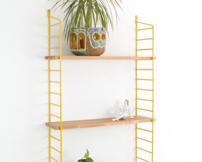 Yellow and Oak Panni Shelf Perfectly Restored (3) 1960s