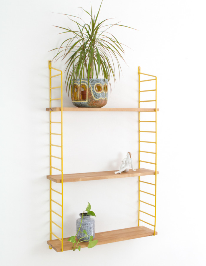 Yellow and Oak Panni Shelf Perfectly Restored (3) 1960s-7