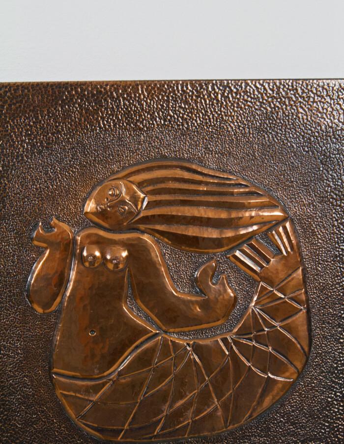 Brass Wall Decoration, Mairmaid and Fisherman-5
