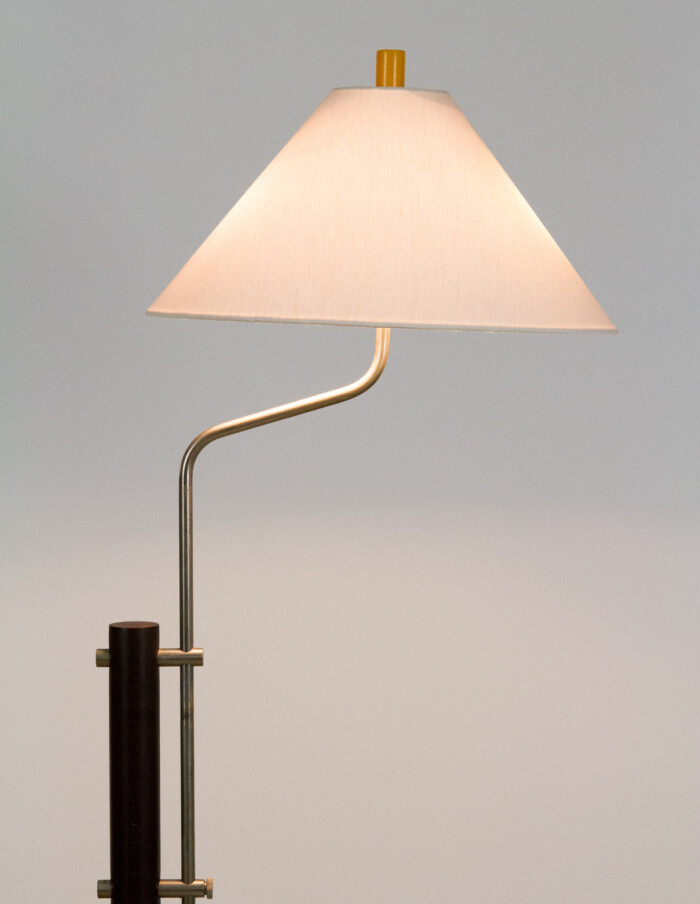 Dark Walnut Wooden Floor Lamp with Chrome Parts, 1960s-14