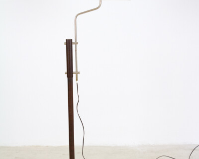 Dark Walnut Wooden Floor Lamp with Chrome Parts, 1960s