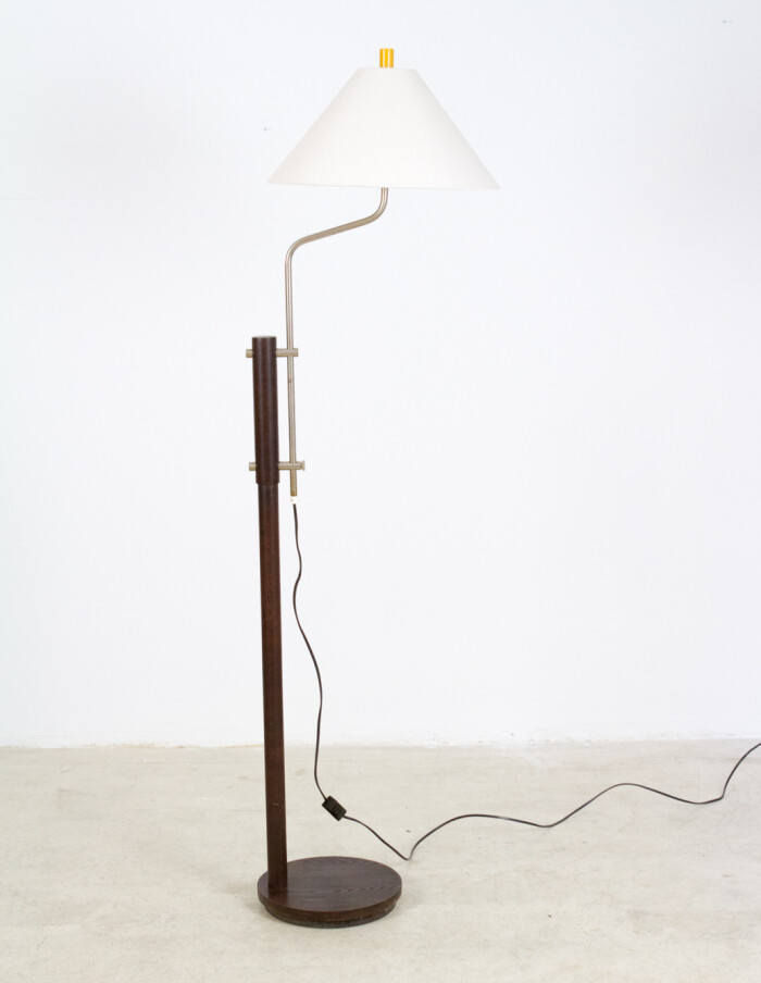 Dark Walnut Wooden Floor Lamp with Chrome Parts, 1960s-2
