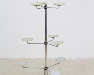 Giant Chrome Standing Plant Holder, 1970s