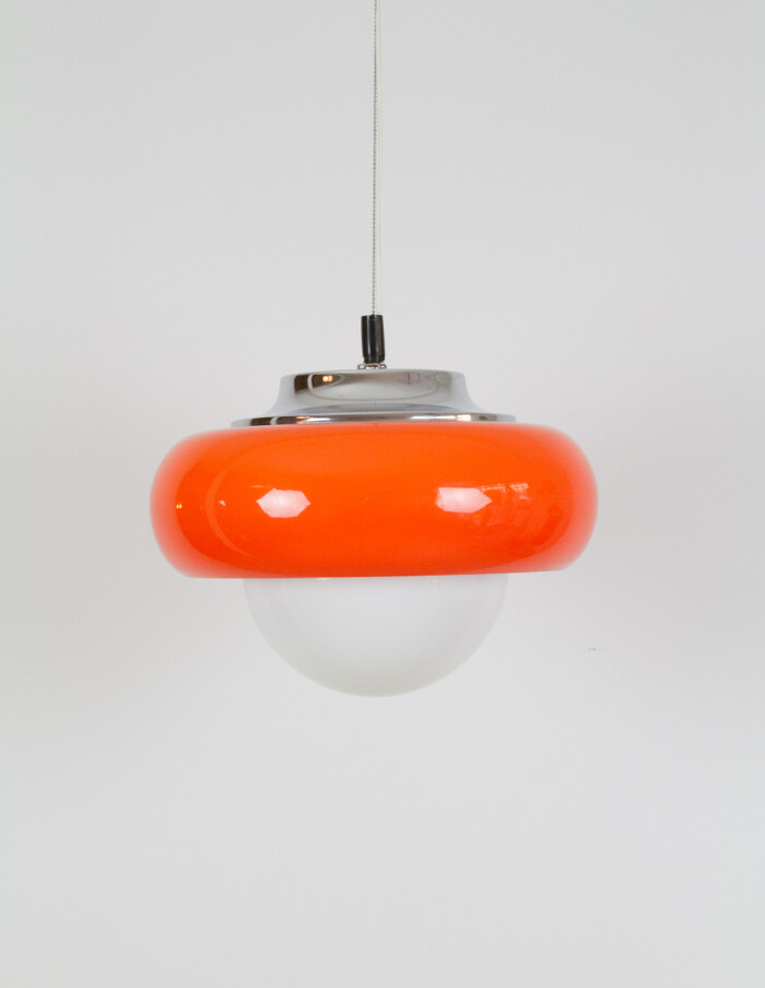 Giant Orange Meblo Pendant by Harvey Guzzini, Italy, 1970's-2