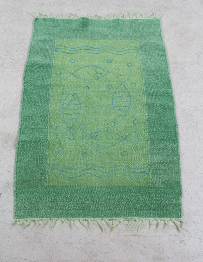 Green Bath Carpet with Fish Motifs, 1970s-1