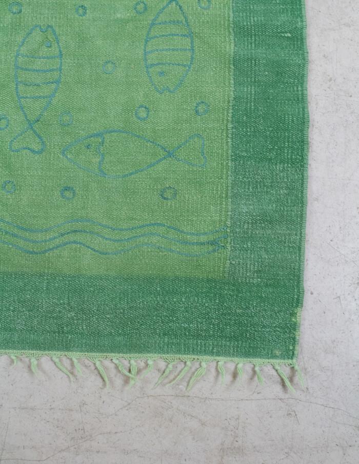 Green Bath Carpet with Fish Motifs, 1970s-2