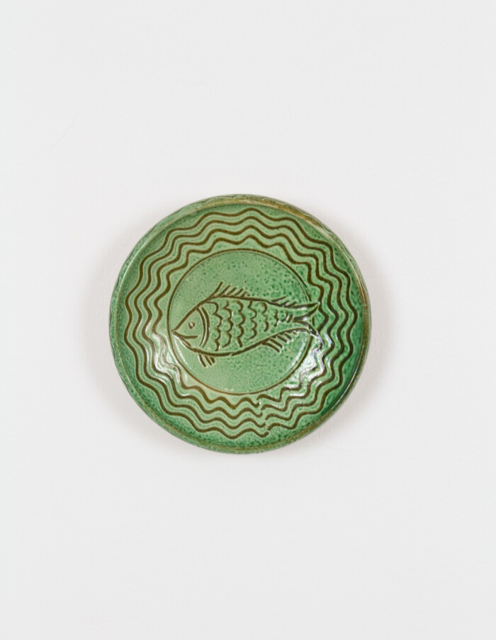 Green Ceramic Plate by Steig István (signed)-1