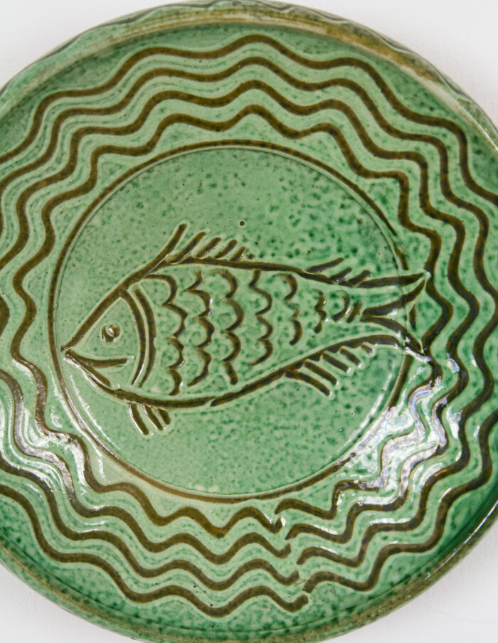 Green Ceramic Plate by Steig István (signed)-8
