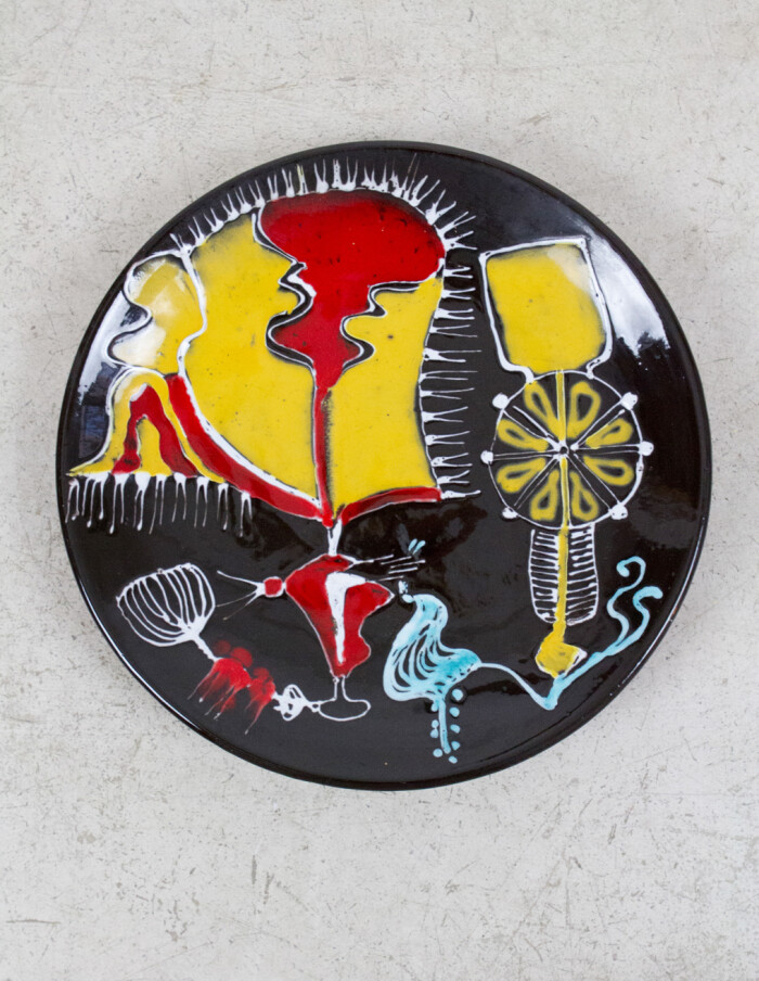 Hand Painted Ceramic Plate, 1960's-1