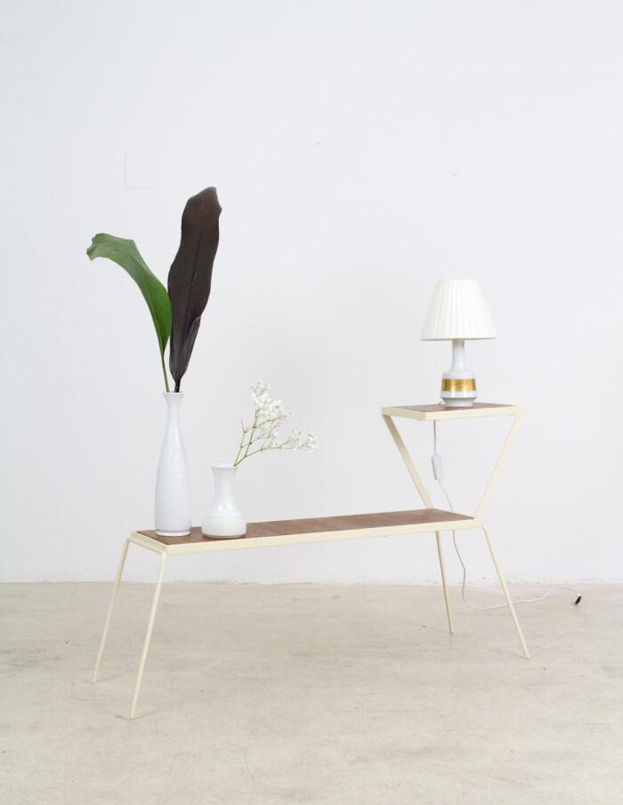 Large Restored Beige Side Table-Plant Holder, 1960s-10