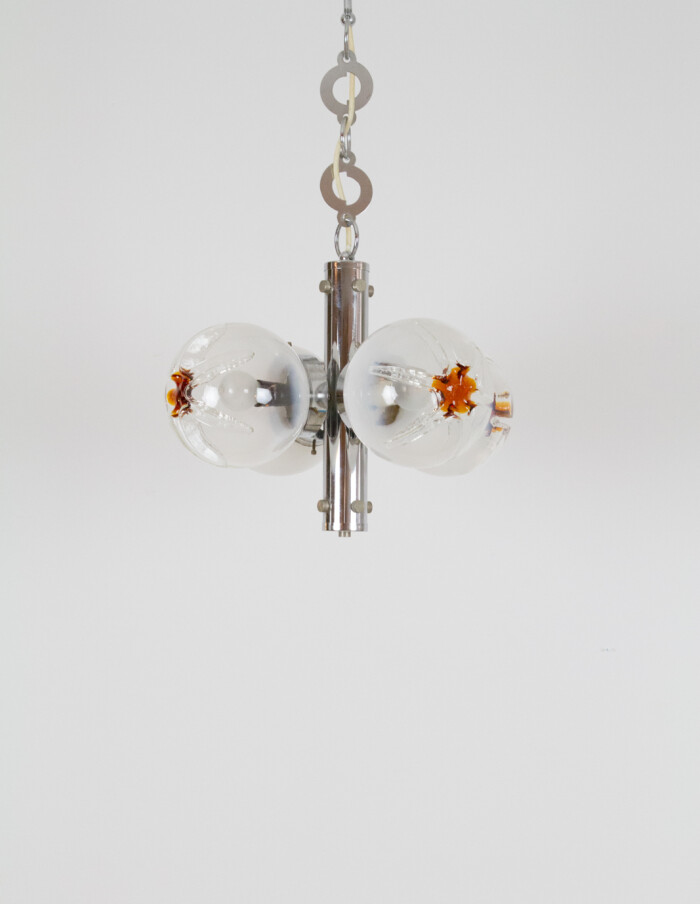 Modernist German Chrome- Plated Pendant, 1970's-1