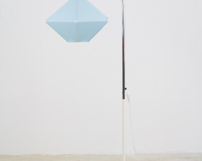 Rare Chrome Floor Lamp with New Blue Shade, 1970s