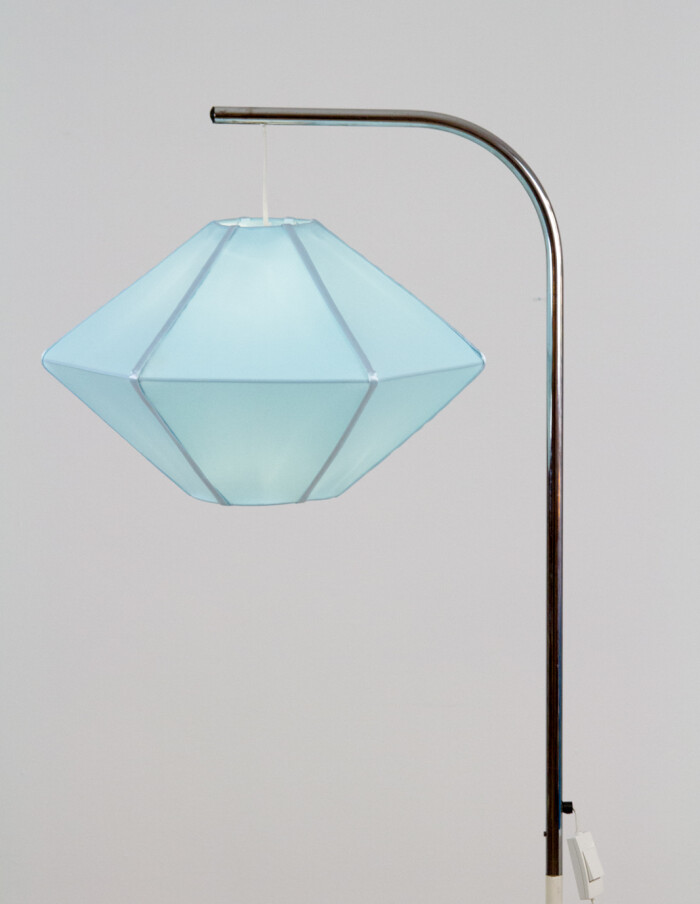 Rare Chrome Floor Lamp with New Blue Shade, 1970s-15