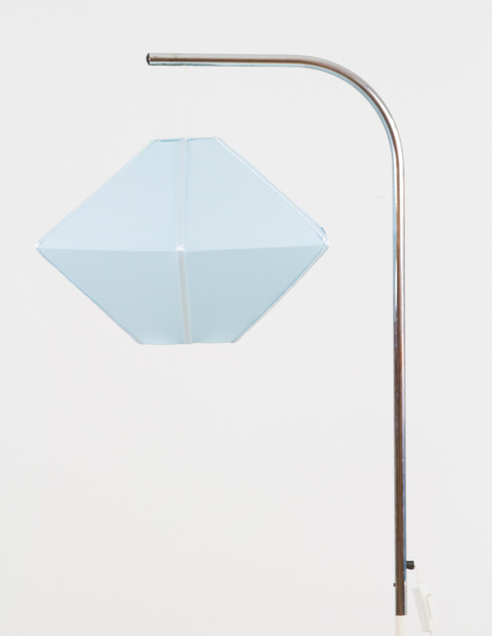 Rare Chrome Floor Lamp with New Blue Shade, 1970s-3