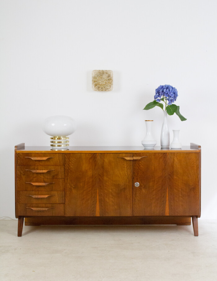 Restored Tatra Sideboard with Black Glass Top, 1960s-15