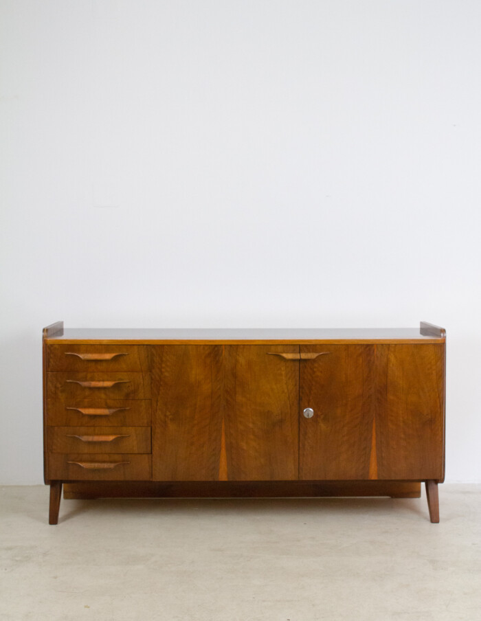 Restored Tatra Sideboard with Black Glass Top, 1960s-4