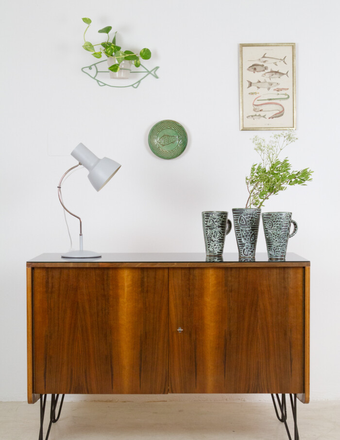 Restored Tatra Sideboard with Black Glass Top and harpin legs, 1960s-21