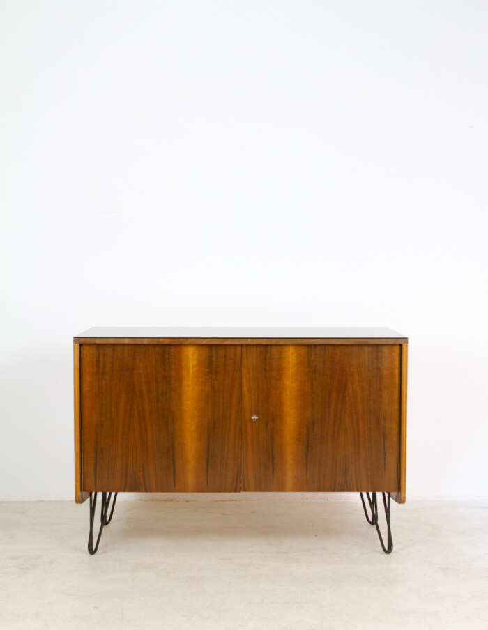 Restored Tatra Sideboard with Black Glass Top and harpin legs, 1960s-5