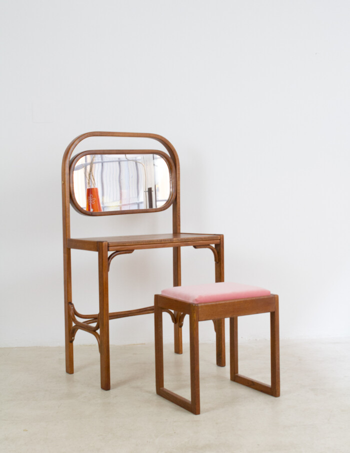 Restored Thonet Dressing Table with Small Chair-17