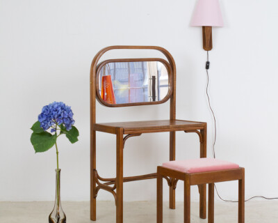 Restored Thonet Dressing Table & Small Chair with Powder Pink Upholstery