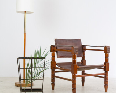 Safari Style Leather Armchair