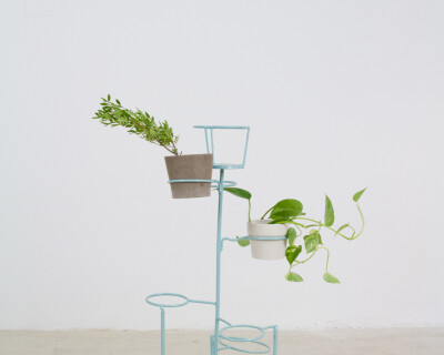 Turquoise Standing Plant Stand, 1960s