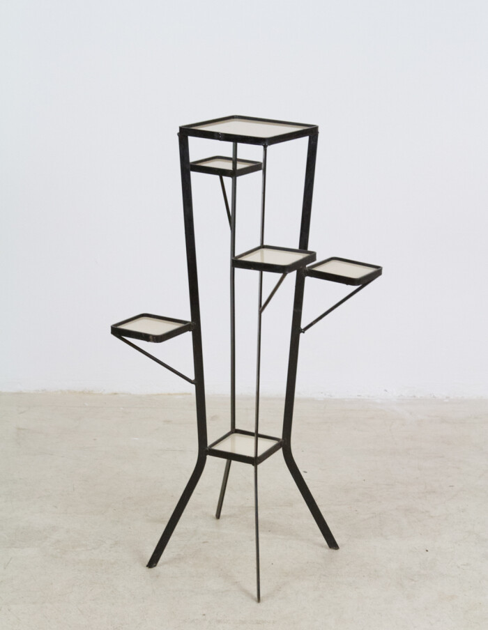 Unique Iron Standing Plant Holder with Beige Glasses 1960s-1