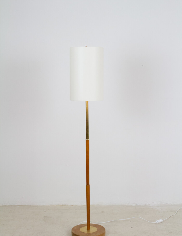 Wooden Floor Lamp with Copper Deails and New Shade, 1960s-1