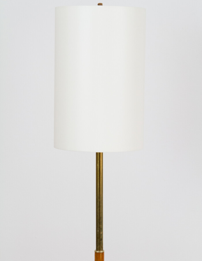 Wooden Floor Lamp with Copper Deails and New Shade, 1960s-2