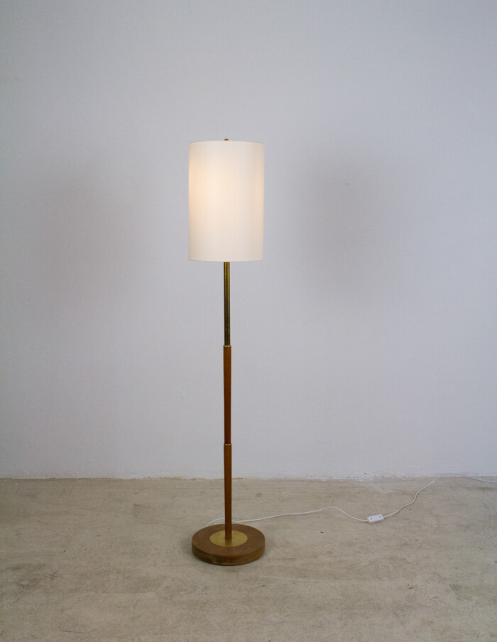 Wooden Floor Lamp with Copper Deails and New Shade, 1960s-8