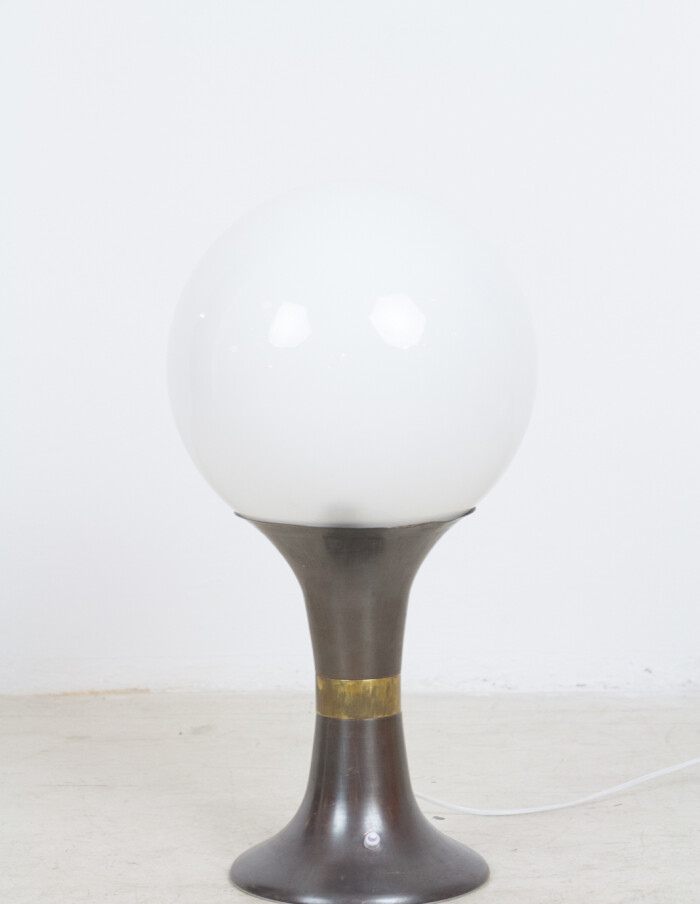 Artisan Table Lamp with Giant Milk Glass Shade-1