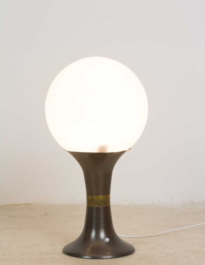 Artisan Table Lamp with Giant Milk Glass Shade-4