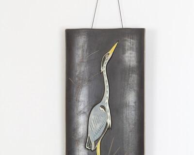 Art Deco Ceramic Wall Decoration with Bird Motif
