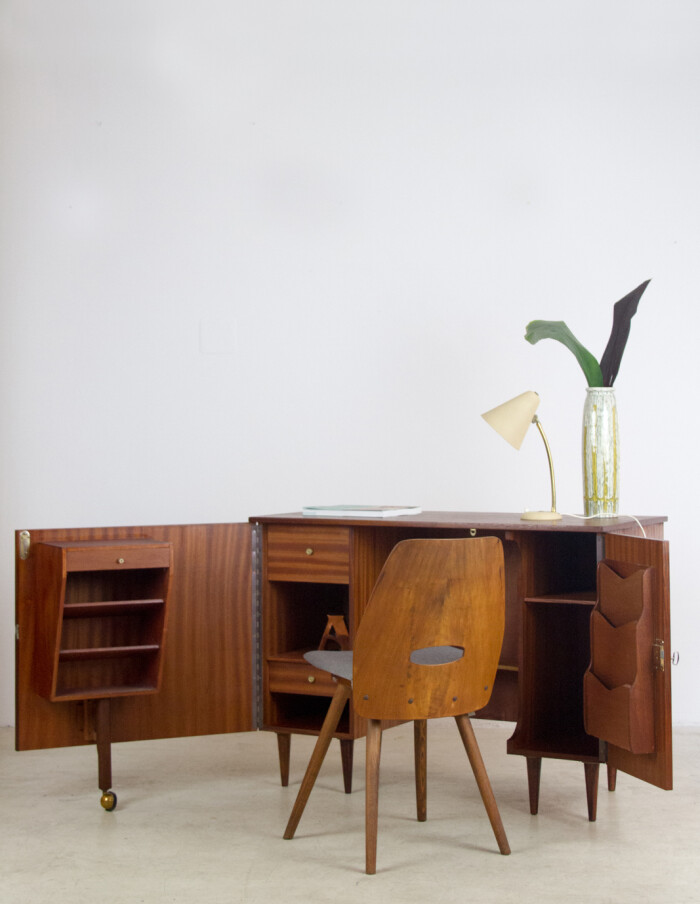 Extremly Rare English Metamorphic Sideboard-Desk, 1960's-26
