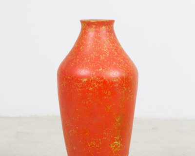 Giant Blood Orange Ceramic Floor Vase (Signed)