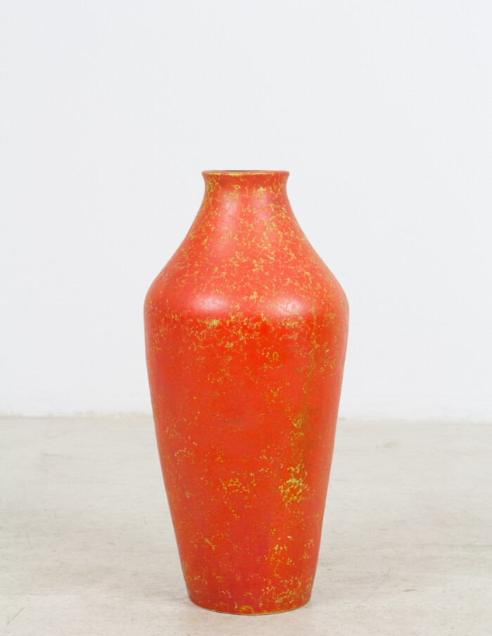 Giant Orange Ceramic Vase (Signed) -1