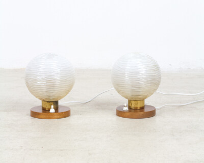 Pair of Small Table Lamp with Wooden Parts, 1960's