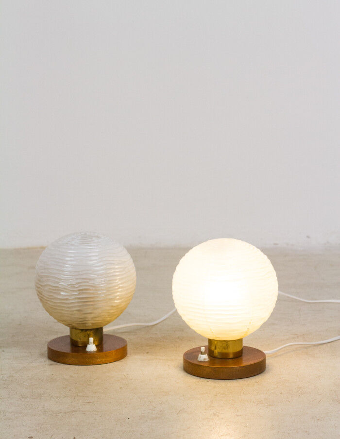 Pair of Small Table Lamp with Wooden Parts-8