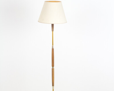 Pretty Teakwood Floor Lamp with Copper Parts, 1960's