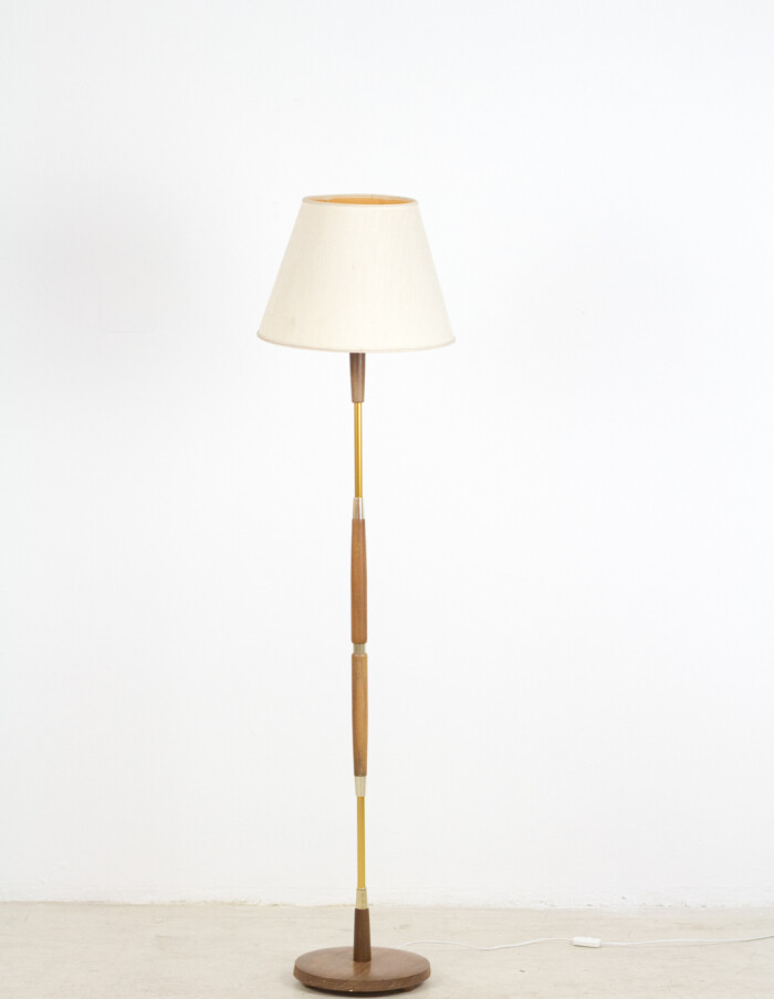 Pretty Teakwood Floor Lamp with Copper Parts, 1960's-2