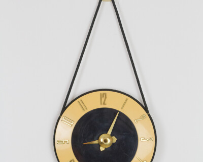 Soviet Mustard Wall Clock with Copper Parts and Clock Winder