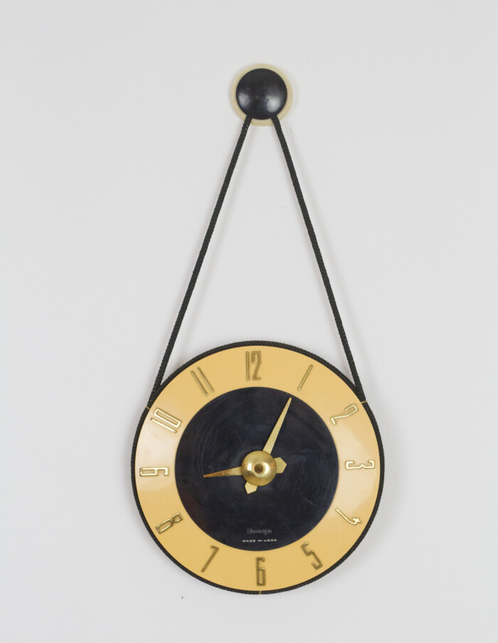 Rare Mustard Wall Clock with Copper Parts-1